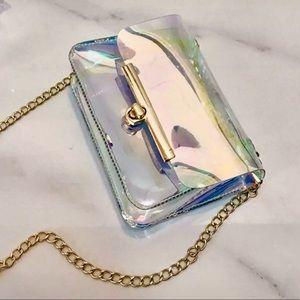 ~Holographic~Iridescent Crossbody Bag w/gold strap